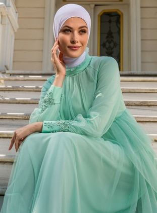 Sea-green - Fully Lined - Crew neck - Modest Evening Dress