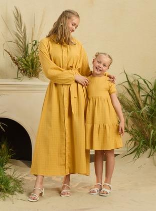 Point Collar - Unlined - Mustard - Girls` Dress