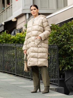 Beige - Plus Size Overcoat