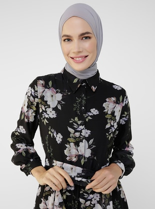 Beige - Black - Floral - Point Collar - Fully Lined - Modest Dress
