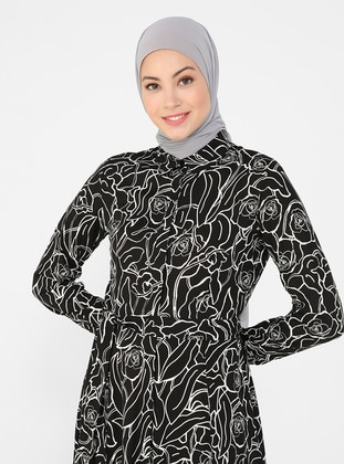 White - Black - Floral - Point Collar - Unlined - Viscose - Modest Dress