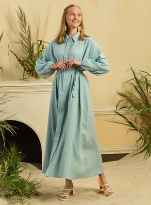 Blue - Point Collar - Unlined - Modest Dress