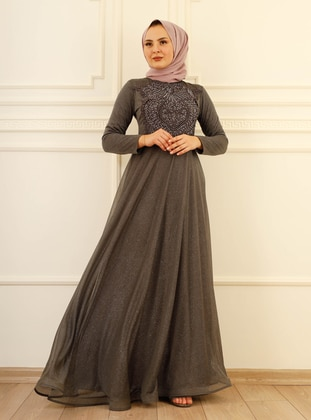 Fully Lined - Gray - Crew neck - Evening Dresses