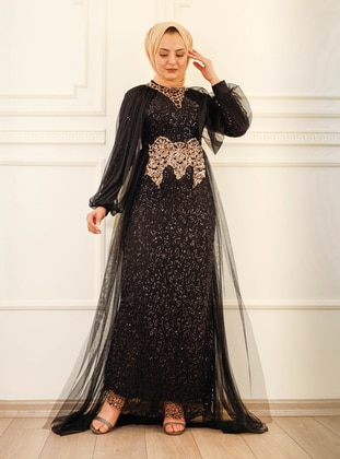 Fully Lined - Black - Crew neck - Evening Dresses