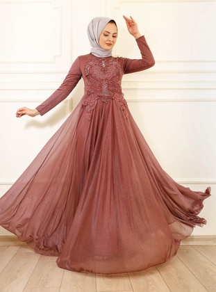 Fully Lined - Powder - Crew neck - Evening Dresses
