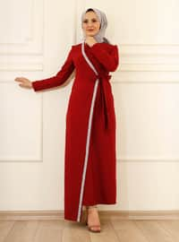 Fully Lined - Maroon - Crew neck - Evening Dresses