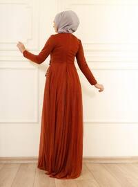 Fully Lined - Terra Cotta - Crew neck - Evening Dresses