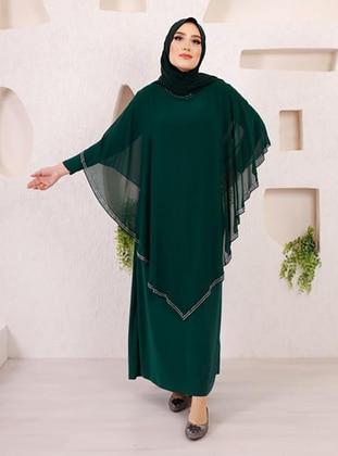 Green - Unlined - Crew neck - Modest Plus Size Evening Dress