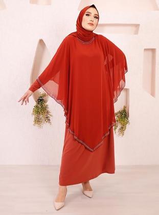 Terra Cotta - Unlined - Crew neck - Modest Plus Size Evening Dress