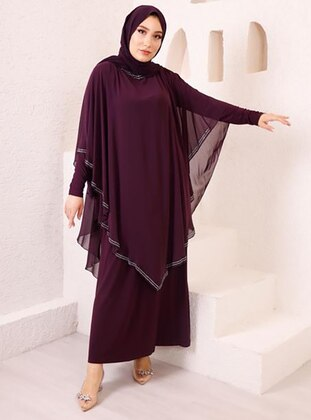 - Unlined - Crew neck - Modest Plus Size Evening Dress