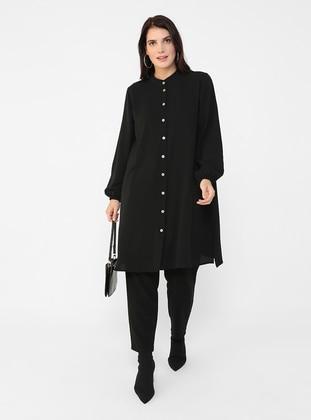 Black - Button Collar - Plus Size Tunic