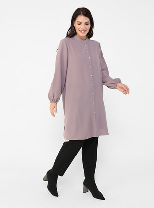 Mink - Button Collar - Plus Size Tunic