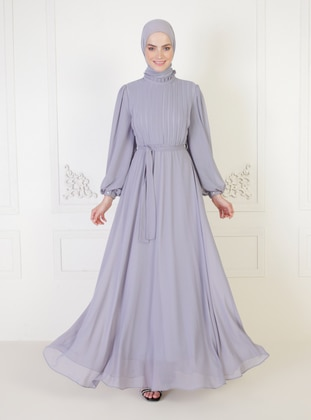 Gray - Fully Lined - Modest Evening Dress