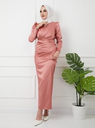 Unlined - Light Pink - V neck Collar - Evening Dresses