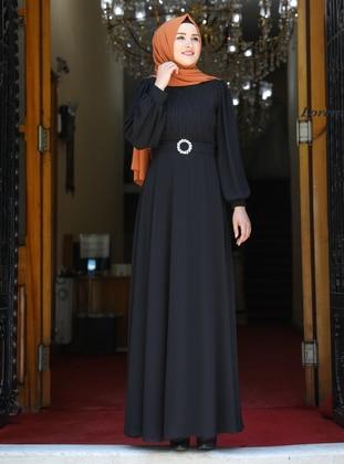 Black - Fully Lined - Crew neck - Modest Evening Dress