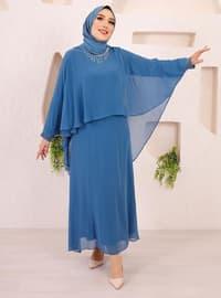 Blue - Unlined - Crew neck - Modest Plus Size Evening Dress