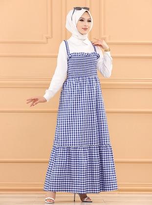Saxe - Checkered - Cotton - Modest Dress