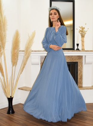 Indigo - Indigo - Fully Lined - Crew neck - Modest Evening Dress