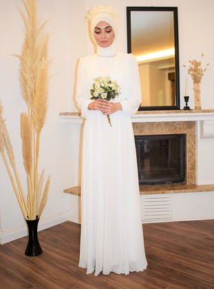 White - White - Fully Lined - Crew neck - Modest Evening Dress