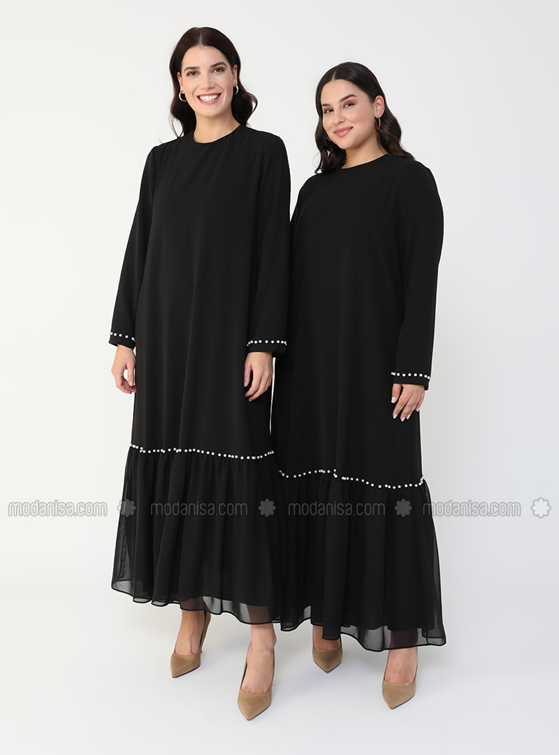 Black - Half Lined - Crew neck - Plus Size Dress