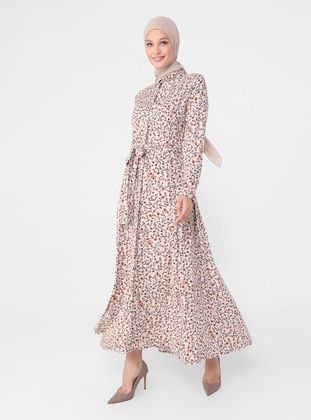 Powder - Yellow - Floral - Point Collar - Unlined - Modest Dress
