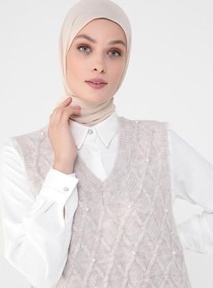 Beige - V neck Collar - Unlined - Knit Tunics