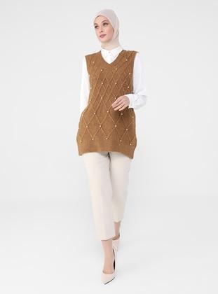 Olive Green - V neck Collar - Unlined - Knit Tunics