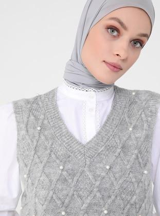 Silver tone - V neck Collar - Unlined - Knit Tunics
