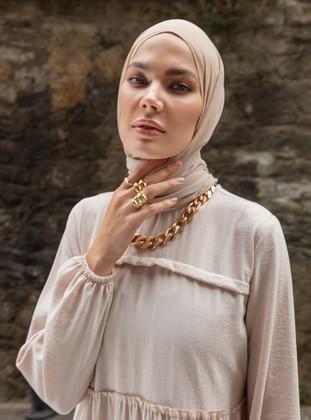 Beige - Crew neck - Unlined - - Modest Dress