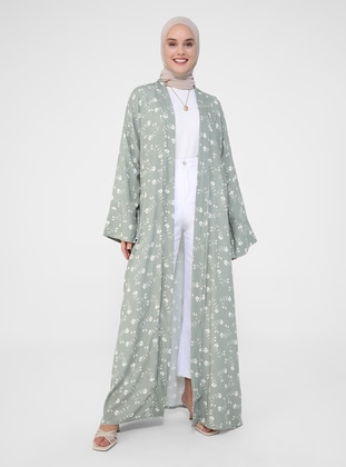 Green - Floral - Unlined - Viscose - Abaya