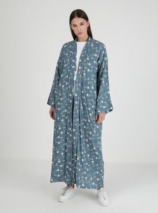 Blue - Floral - Unlined - Viscose - Abaya