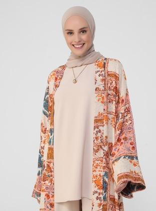 Orange - Floral - Unlined - Viscose - Abaya