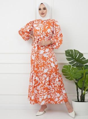 White - Orange - Floral - Crew neck - Unlined - Cotton - Modest Dress