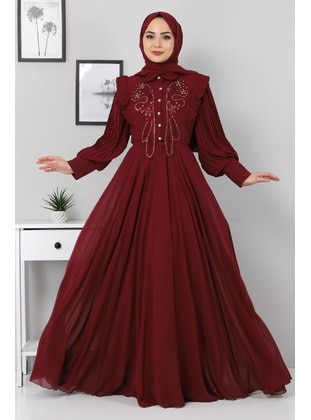 Fully Lined - Maroon - Modest Evening Dress