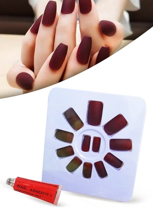 False Nails Blunt Cut Matte Pastel Burgundy Cuttable Adjustable Self Adhesive XL742