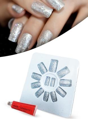 False Nails Blunt Cut Glittery Light Grey Cuttable Adjustable Self Adhesive XL740