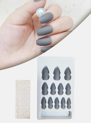 False Nails Matte Pastel Light Grey Cuttable Adjustable Self Adhesive XL784