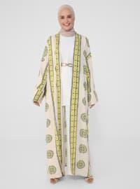 Yellow - Floral - Unlined - Viscose - Abaya