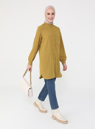 Olive Green - Button Collar - Tunic