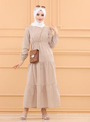 Mink - Checkered - Crew neck - Unlined - Cotton - Modest Dress