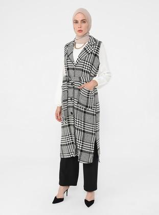 White - Black - - Plaid - Unlined - Shawl Collar - Acrylic - Cotton - Vest