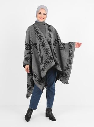 Gray - Black - Multi - Unlined - Poncho