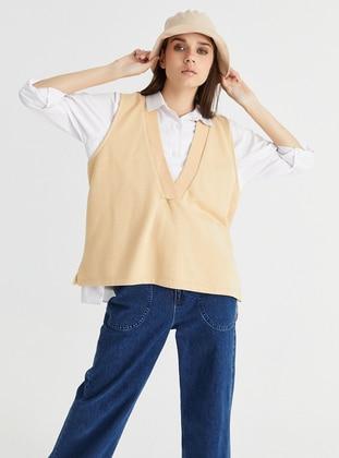 V neck Collar - Cream - Sweat-shirt