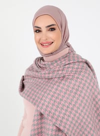 Pink - Houndstooth - Unlined - Acrylic - Triko - Poncho