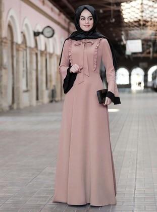Mink - Unlined - Crew neck - Modest Evening Dress
