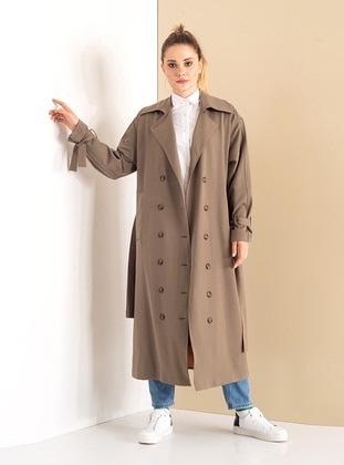 Brown - Fully Lined - Shawl Collar - Cotton - Viscose - Trench Coat