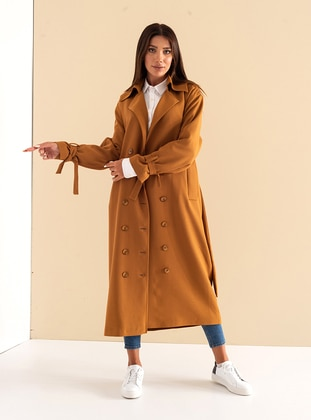 Tan - Fully Lined - Shawl Collar - Cotton - Viscose - Trench Coat