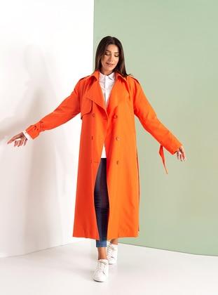 Orange - Fully Lined - Shawl Collar - Cotton - Viscose - Trench Coat
