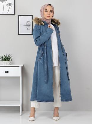 Light Blue - Fully Lined - Point Collar - Denim - Puffer Jackets