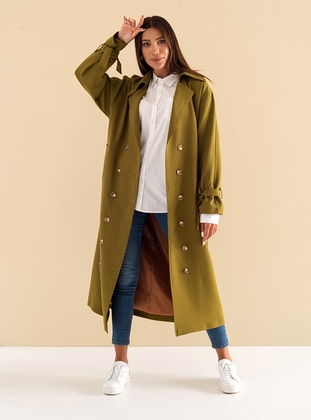Green - Fully Lined - Shawl Collar - Cotton - Viscose - Trench Coat